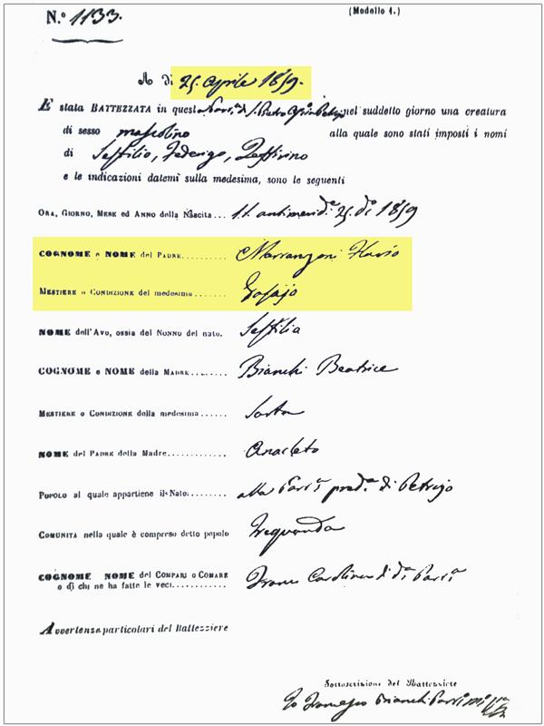 Certificato nascita Marrangoni Settilio 25 Aprile 1859